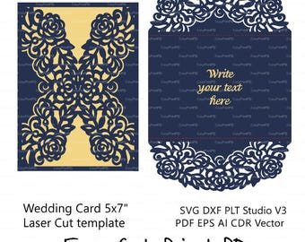 "Sale 50%  Wedding invitation Pattern Card 5*7"" Template Roses Lace folds (svg, dxf, ai, eps, png, pdf) laser paper die cut Silhouette Cameo"