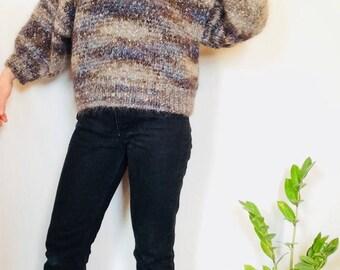 Vintage wool sweater angora sweater metallic sweater angora boxy knit sweater womens m sweater vintage cropped sweater vintage boxy sweater