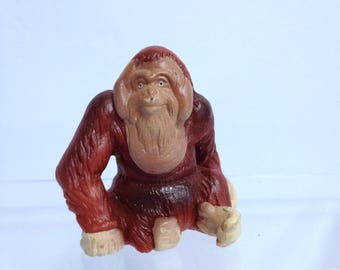 Funny Monkey Orangutan Vintage Schleich Model, Retired Schleich Teaching Model, African Diorama Monkey Lover Gift Take Along Toy to Carry
