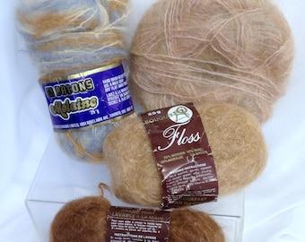 Scheepjes Voluma Kid Mohair Yarn Patons Molaine Vintage Wool Yarn Luxury Mohair Yarn Brown Blue Variegated Wool Variegated OOAK Yarn
