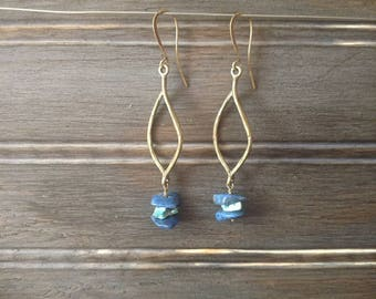 Antique Natural Stone Earrings-boho-dangle-turquoise-lapis-raw stone jewelry