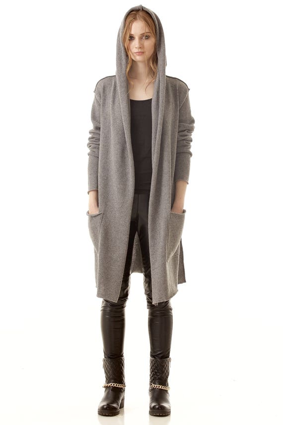 Grey cashmere hooded womens cardigan sweater Long cashmere