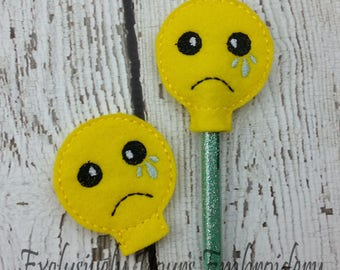 Crying Emoji Pencil Toppers - Party Favor - Classroom Prizes - Small Gift - Back to School