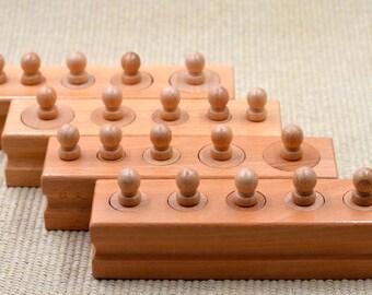 Montessori Knobbed Cylinders / Montessori Sensorial Material / Preschooler learning puzzle / education puzzle /