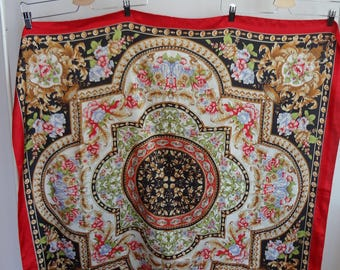 Vintage silk scarf; Beautiful floral mandala pattern