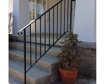 Hand Made Wrought Iron Picket4 Style Handrail for Steps- Easy DIY Installation