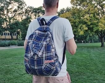 hipster backpack men cotton backpack men modern backpack mens backpack cotton casual backpack men blue vegan backpack man ooak backpack