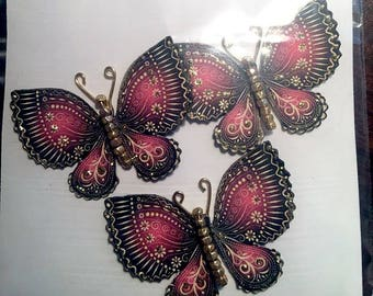 Golden Treasure Ruby Gold Glass Bodied Butterflies DarlingArtByValeri Set for Scrapbooking Embellishment Mini Albums Cards Wedding Gifts