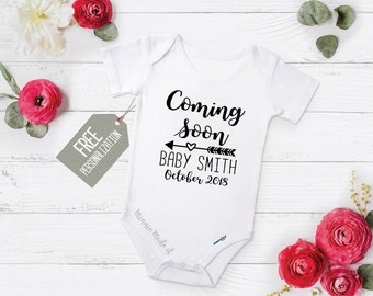 Pregnancy Announcement Onesie® - Coming Soon Personalized With Name and Due Date - Perfect Baby Announcement For Baby Boy Or Girl Reveal