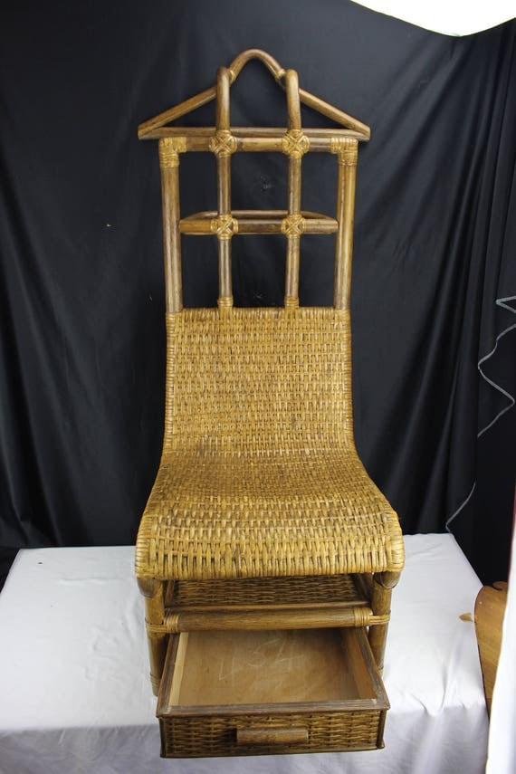 Ratan/Bamboo, Men's Valet Chair with Drawer, Mid Century Decor Bedroom Furniture