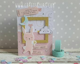 Handmade new baby card - Rabbit Sweet dreams - new baby - baby arrival