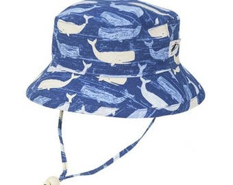 Child's Sun Protection Camp Hat - Cotton Print in Whale (6 month, xxs, xs, s, m, l)