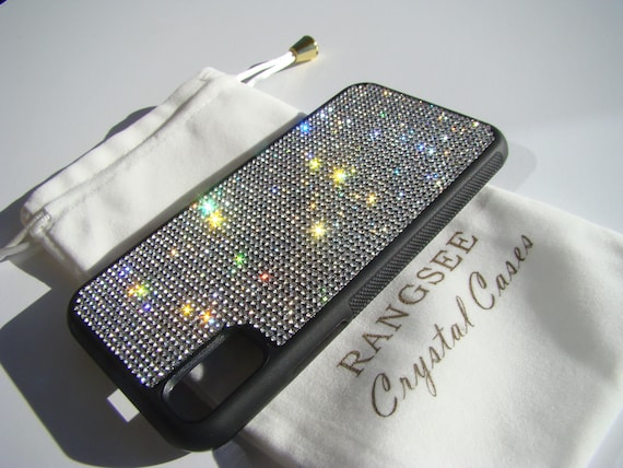 iPhone X Case , Clear Diamond  Rhinestone Crystals on Black Rubber Case. Velvet/Silk Pouch Bag Included, .