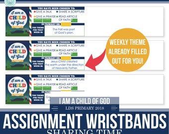 2018 LDS Primary Theme - Sharing Time Assignment Wristbands with Weekly Theme Included- I am a child of God - Moon Theme - MB