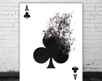 Playing Cards Wall Art Black And White Art Illustration, Smoke Art, Printable Card Game Art, Poker Cards Ace Of Clubs, Poker Player Gift
