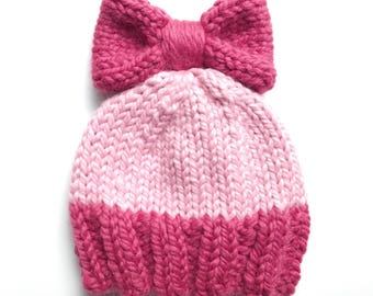 Child Knit Bow Hat, Child Knit Bow Beanie, Customizable Knit Hat, Customizable Knit Beanie, Newborn Knit Hat, Toddler Knit Hat, Kid Hat