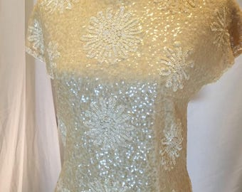 Vintage 50s 60s HOUSE OF GOLD Sequin Sweater Tank Cocktail Top Short Sleeves Yellow