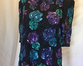 Vintage Scarlet Rage Silk Beaded Sequin Cocktail Evening Top Black and Purple Floral Size XL