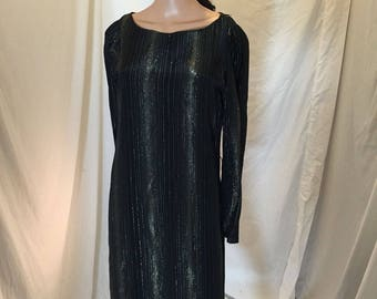 Vintage 70s Disco Black Cocktail Dress Sheath Long Sleeves Gold Metallic Woven Accents