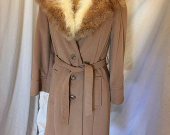 Vintage 60s 70s Camel Tan Belted Wool Coat Faux Fur Collar Brown and Ivory ILGWU Tag by Dee Dee Deb