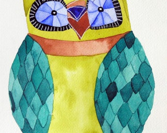 Whimsical art, owl art, original art, watercolor painting, modern nursery decor, kids room art, nursery art, whimsical animal art, owls