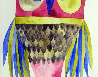 Whimsical art, owl art, original art, watercolor painting, bird art, kids room art, modern nursery art, owl decor, whimsical animal art