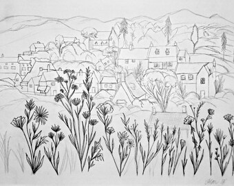 "pencil drawing print ""Hometown"""