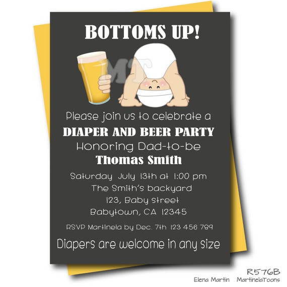 Beer and Diaper Baby Shower Invitation Chalkboard Dad Baby Shower