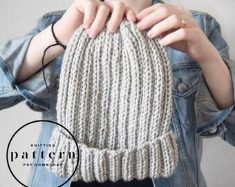 KNITTING PATTERN : Flora Hat / knitting pattern, beanie pattern, knit hat pattern, unisex beanie pattern, easy pattern