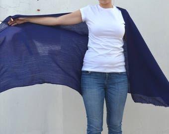 Fine wool/ cashmere dark blue shawl, soft woolen scarf, wrap