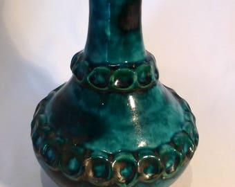 "Walter Gerhards Keramik  ""Alaska"" Teal pottery vase – original from the 1970s"