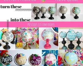 Custom painted Mini Globe, Made to Order Globe