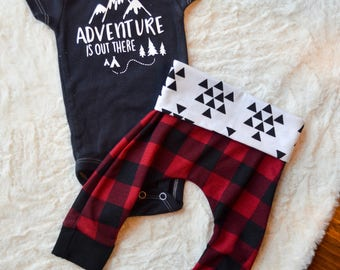 Baby boy buffalo plaid set,Baby boy Christmas outfit, Baby boy adventurer onesie, Baby boy outfit, Baby boy set, hospital take home outfit,