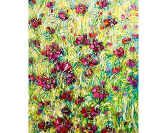 """Original Flowers Painting, Pink Flowers,24x36"""", Semi Abstract, Large Acrylic Painting, Impressionist, Nature, Garden, Flower Art"""