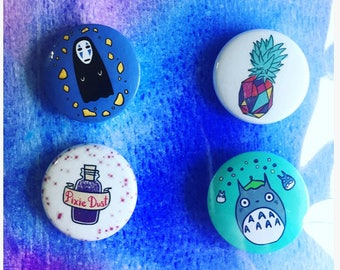 Studio Ghibli Colorful Buttons - No Face Spirited Away Miyazaki Totoro 4 Pack