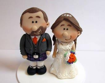Scottish Bride and Groom Wedding Cake Topper    Personalised Novelty Topper   Handmade Mini TopperScottish cake topper   Etsy. Novelty Wedding Cake Toppers. Home Design Ideas