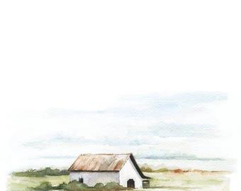 White Barn Watercolor PRINT - Barn Painting - Barn Watercolor Print - Barn - Farmhouse - Modern Farmhouse - Home Decor - Home - Farm