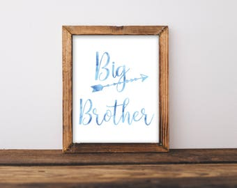 Big Brother Print or Printable, Brother Sign, Big Brother Sign, Nursery Wall Art,Kids Wall Art,Sibling Wall Art,Blue Kids Wall Art, Blue Art