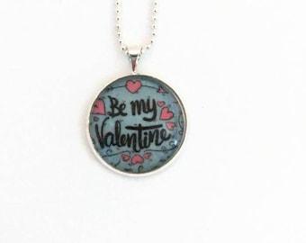 Necklace Valentine - glass 20 mm - bronze chain on silver - Valentine's gift
