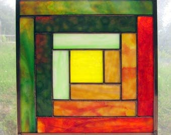 """Stained Glass Quilt Square 9.5"""" Log Cabin Appalachian Traditional Quilt Pattern in Orange Yellow and Green"""