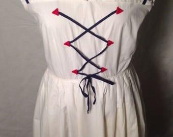 1950's 50s / Vintage Sailor Dress / Patriotic / Stars / Trudy of California