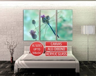 Dragonfly Triptych Home Wall Decor Gallery Wrapped Canvas Print Metal Art Contemporary