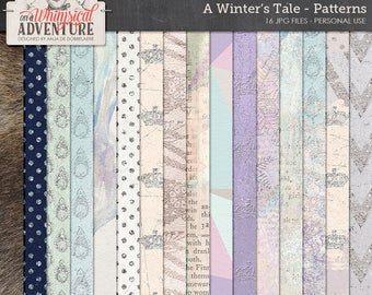 Snow Queen, Winter Patterned Paper Pack, Digital Paper, Instant Download, Pastel Grunge, Low Poly, Ice Patterns, Glitter Dots, Reindeer Skin