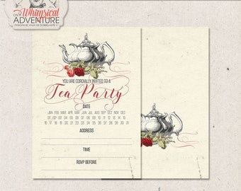 Tea Party Invitation Template, Bridal Shower, Baby Shower, Birthday Party, High Tea, Editable Photoshop File, Printable, Instant Download