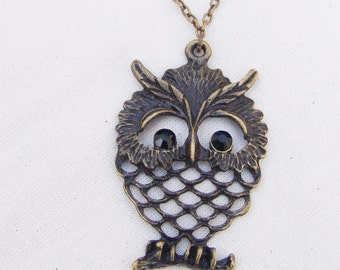 Charm necklace bronze OWL