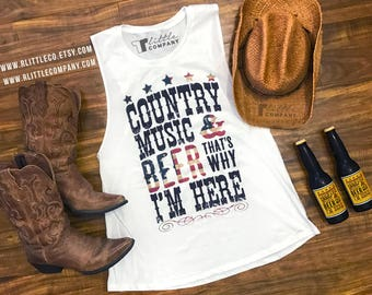 Country Music and Beer That's Why I'm Here **Custom Color** Women's Festival and Lightweight Tanks XS-4XL // Country Concert Tank