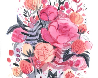 Lil black cat with flowers