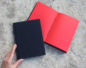 Red paper (blank) notebook - hardcover - fabric sketchbook, creative journal, handmade INKCRAFT book