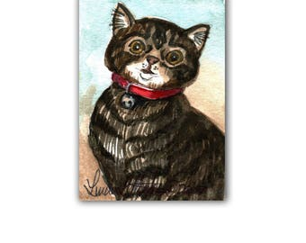 Tabby Cat in Red Collar Bell llmartin Original ACEO  Watercolor Original Nursery, Baby, First Time MOM, Kitten