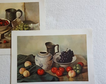 Set of 2 still life fruit by Hank Bog fruit still life, shelf art, kitchen art, fruit, wall art, gallery wall,